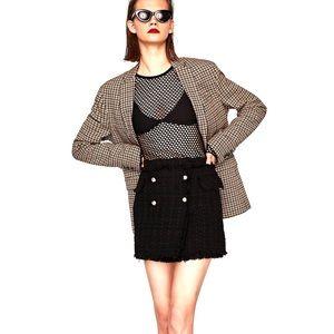 Zara Black Tweed Frayed Skort